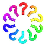 Questions color wheel. Questions symbol color wheel isolated Royalty Free Stock Photo