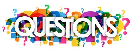 QUESTIONS colorful overlapping question marks banner stock illustration