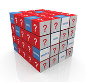 Questions cubes Stock Photos