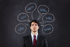 Questions d'homme d'affaires Photo stock