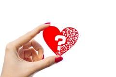 Questions de coeur Photo stock