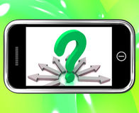 Questions de Mark On Smartphone Shows Asking de question Image stock