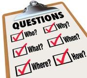 Questions de recherches de presse-papiers d'enquête qui ce qui où quand pourquoi comment Images libres de droits