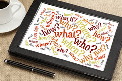 Questions on digital tablet Royalty Free Stock Image