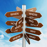 Questions direction sign post Stock Photography
