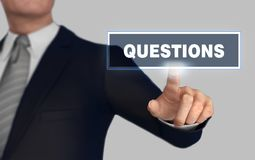 Questions   pushing concept 3d illustration. Questions      with finger pushing concept 3d illustration Stock Images
