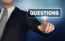 Questions   pushing concept 3d illustration. Questions      with finger pushing concept 3d illustration Stock Image