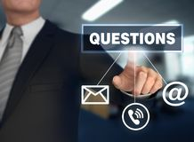 Questions   pushing concept 3d illustration. Questions      with finger pushing concept 3d illustration Stock Photography