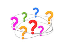 Questions fly in orbits Stock Photos