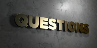 Questions - Gold sign mounted on glossy marble wall  - 3D rendered royalty free stock illustration Royalty Free Stock Image