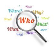Questions. Illustration of a magnifying glass with many questions Stock Illustration