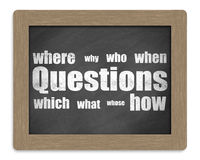 Questions. Lots of yet unanswered questions on blackboard isolated on white Stock Image
