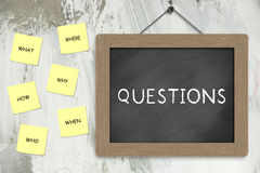 Questions. Lots of yet unanswered questions notes pasted on the wall Stock Photos