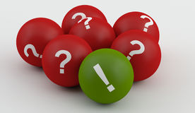 Questions mark with exlclamation. Red question balls with green exclamation stock illustration