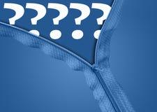 Questions mark under zipper. Questions mark under blue zipper Stock Photo