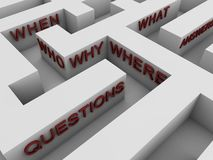 Questions - maze. Maze with questions related words Royalty Free Stock Photo