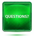 Questions? Neon Light Green Square Button. Questions? Isolated on Neon Light Green Square Button vector illustration