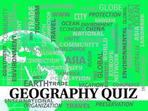 Questions ou essai de planète de jeux télévisés de géographie illustration stock