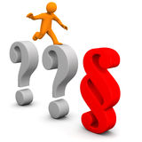 Questions Paragraph. Orange cartoon character with question marks and paragraph on the white Stock Images
