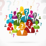 Questions. People with questions working as a team Royalty Free Stock Images