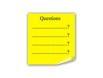 Questions post it note. Four yellow post-it notes with painted black question marks pinned to a corkboard, ideal metaphor of many questions asked Stock Photos