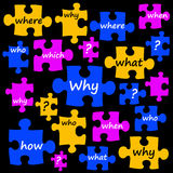Questions puzzle. Puzzle pieces filled with questions to be clarified Stock Photos