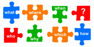Questions puzzle. Illustration of questions puzzle on white background Royalty Free Stock Photo