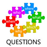 Questions puzzle. Puzzle pieces filled with questions to be clarified Stock Images