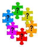 Questions puzzles. Puzzle pieces filled with question mark isolated on white Royalty Free Stock Photos