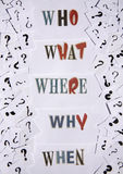 Questions and question mark background. Questions and question mark, who , where, who, what and why royalty free stock photography
