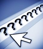 Questions questions questions. Question marks in browser address bar, with cursor arrow, oblique view with blue tint royalty free illustration