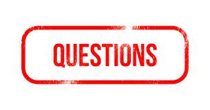 Questions - red grunge rubber, stamp.  Stock Photo
