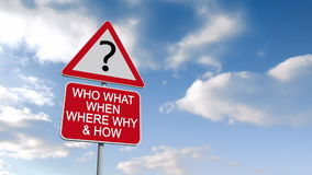 Questions sign against blue sky. Digital animation of Questions sign against blue sky stock footage