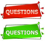 Questions sign. Questions modern 3d sign isolated on white background,color red and green Stock Image