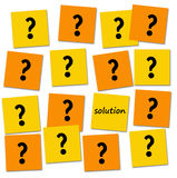 Questions and solution. Having to answer a lot of questions before finding the solution vector illustration