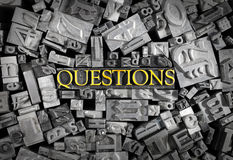 Questions spelled out in Metal Letters Royalty Free Stock Images