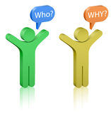 Questions: who and why?. Social Media. Communication Concept stock illustration