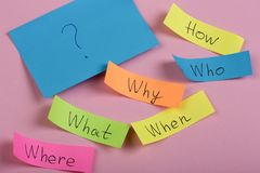 Questions  Why? What? Where? When? Why? How? on colorful stickers on pink backround royalty free stock image
