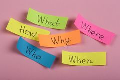 Questions - Why? What? Where? When? Why? How? on colorful stickers on pink backround. Business, text, communication, information, message, note, paper, word stock photo