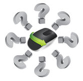 Questions. Wireless computer mouse Royalty Free Stock Image