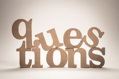 Questions Wood Word royalty free stock photo