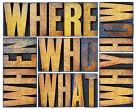 Questions word abstract in wood type Stock Photo