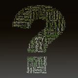 Questions words tags. Illustration of question mark symbol created with question words Royalty Free Stock Photos