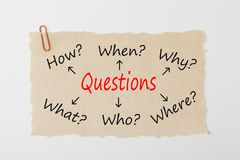 Questions writen on old torn paper concept stock photo