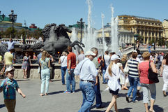 Questrian statue  Fountain at Theater Square  Summer day Royalty Free Stock Images