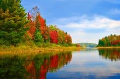 Quetico Lake Autumn Shoreline, Quetico, Ontario. Autumn colours brighten the shoreline of Quetico Lake, Quetico Provincial Park, Ontario, Canada royalty free stock photography