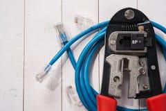 Quetschwerkzeug mit Steckfassung RJ45 Lizenzfreies Stockfoto