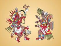 Quetzalcoatl и Tezcatlipoca, ацтекские боги и брат-близнецы Стоковые Изображения