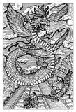 Quetzalcoatl, aztec feathered serpent god, hand drawn illustration Stock Photography