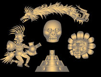 Quetzalcoatl and Aztec symbols Stock Photos
